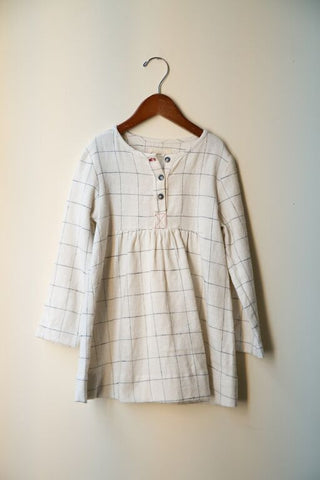 cream check shirt dress