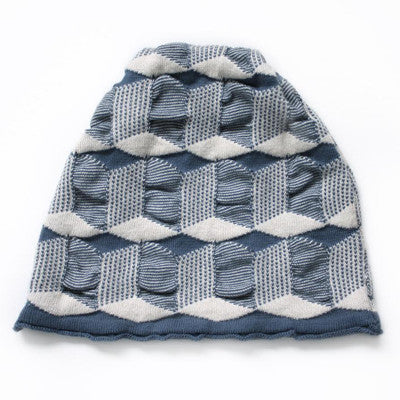 navy & cream cube hat