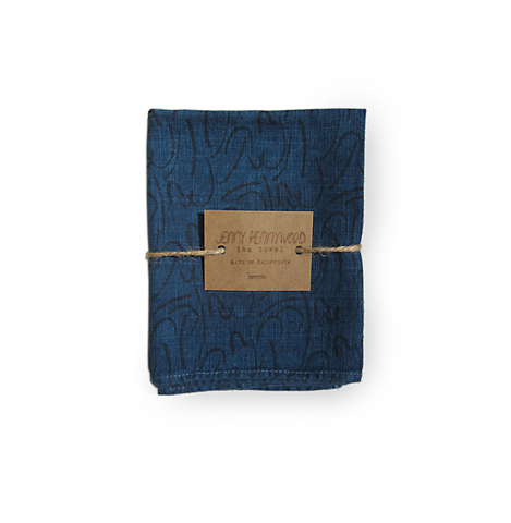 shorthand tea towel - pine/indigo