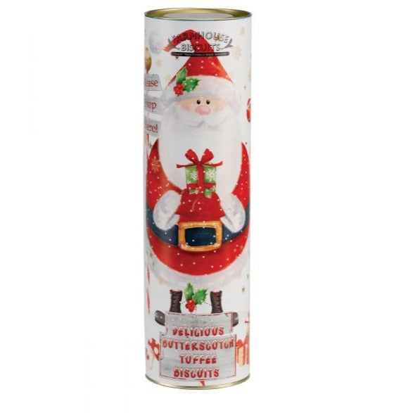 Giant Santa Tube - Mini Butterscotch Toffee Biscuits