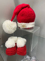 Hand knitted baby Santa Hat and Booties
