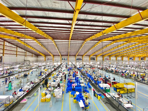 manufacturer, clothing, yellow and blue machines