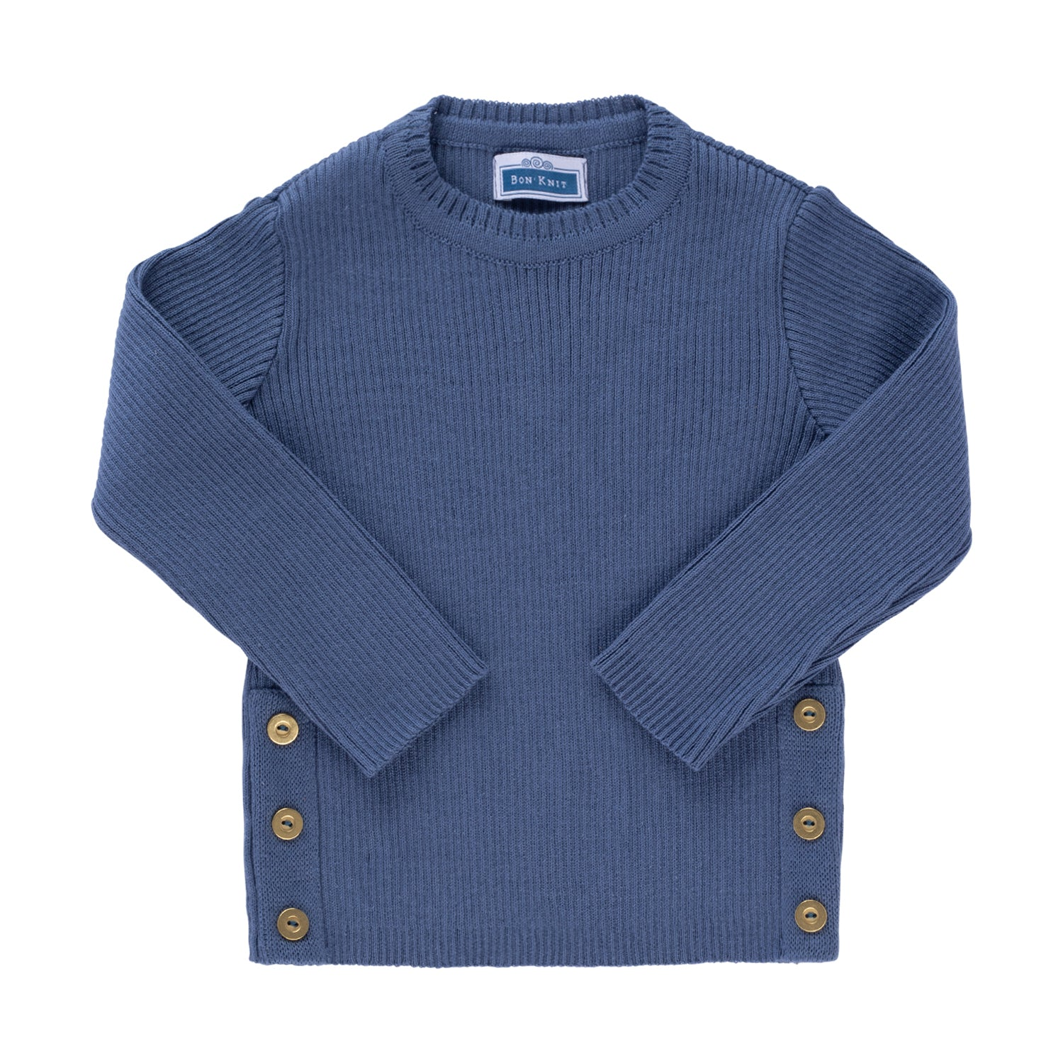 Side Button Sweater ~ Indigo