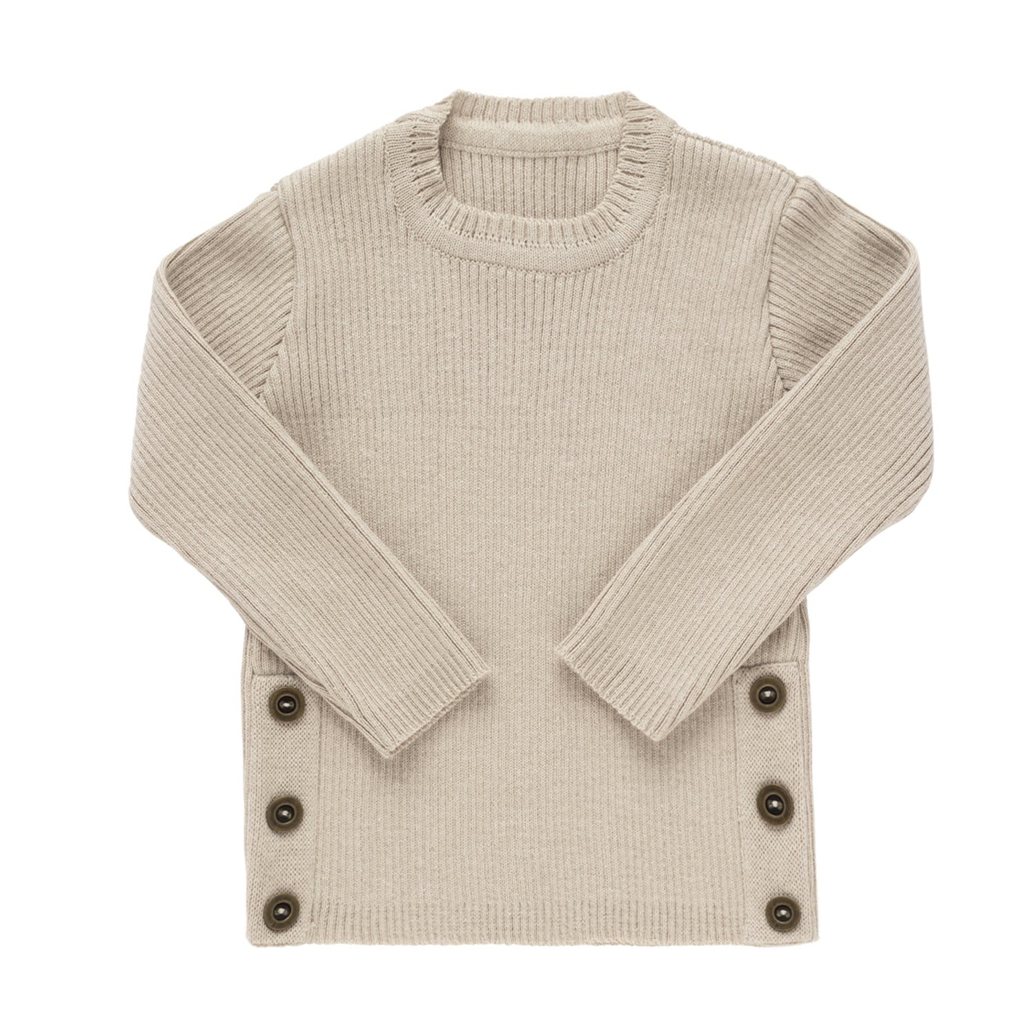Side Button Sweater ~ Beige