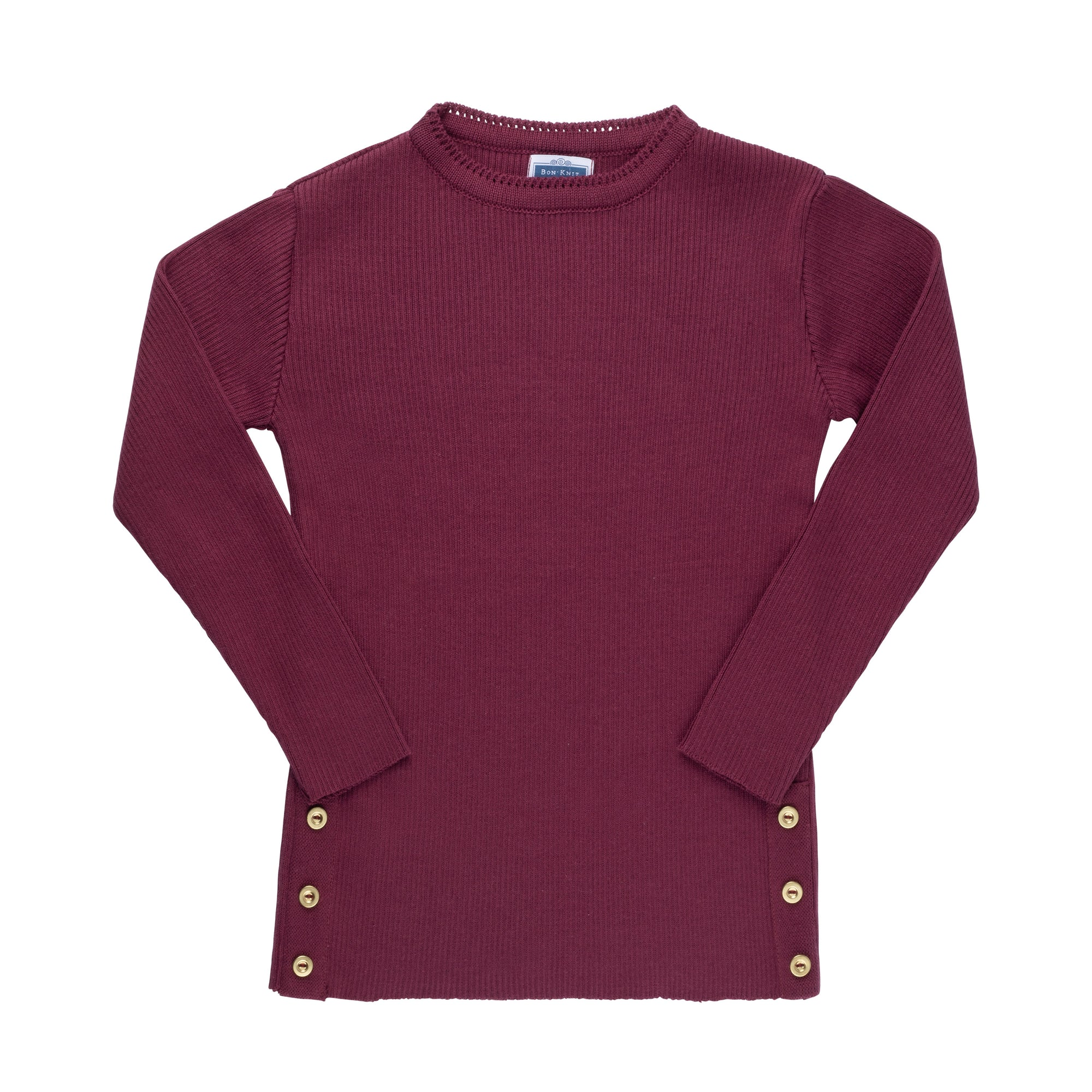 Side Button Sweater ~ Cherry