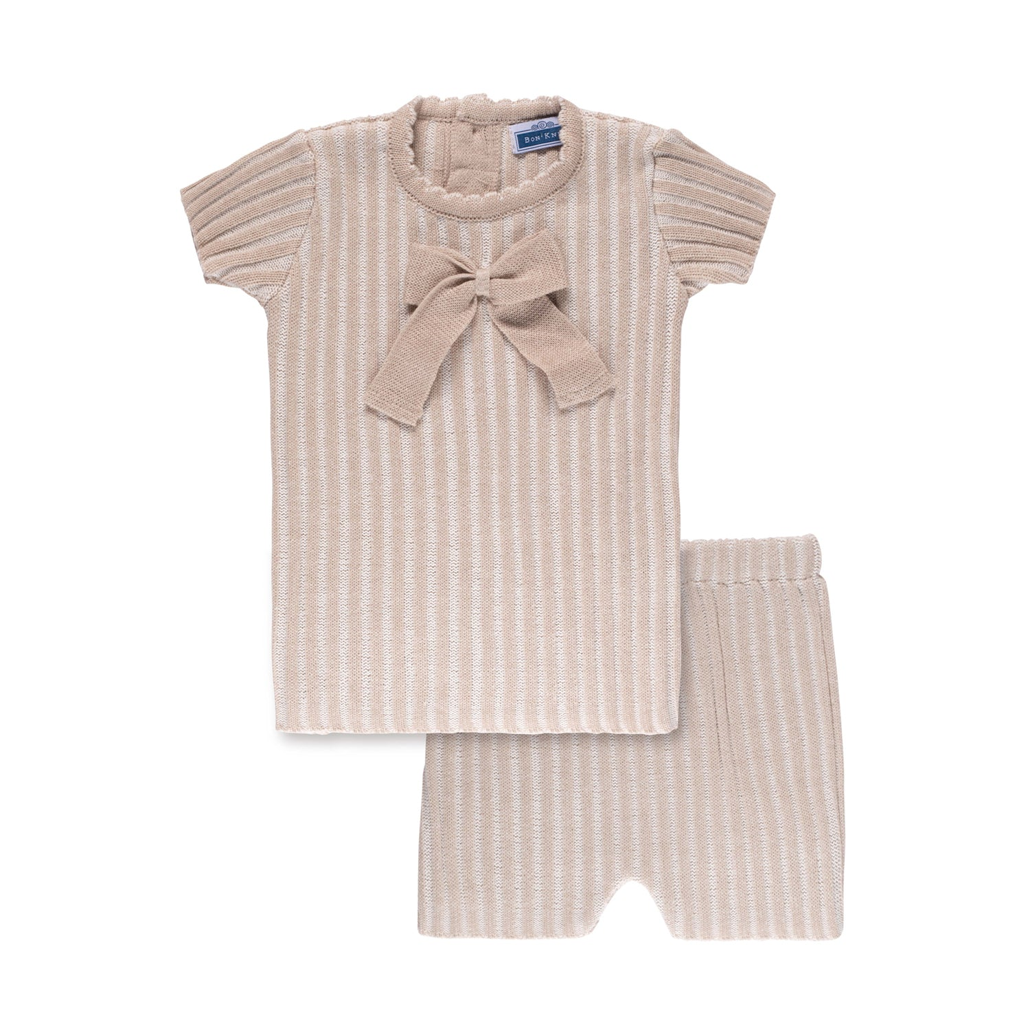 Ribbed Bow Set ~ Taupe