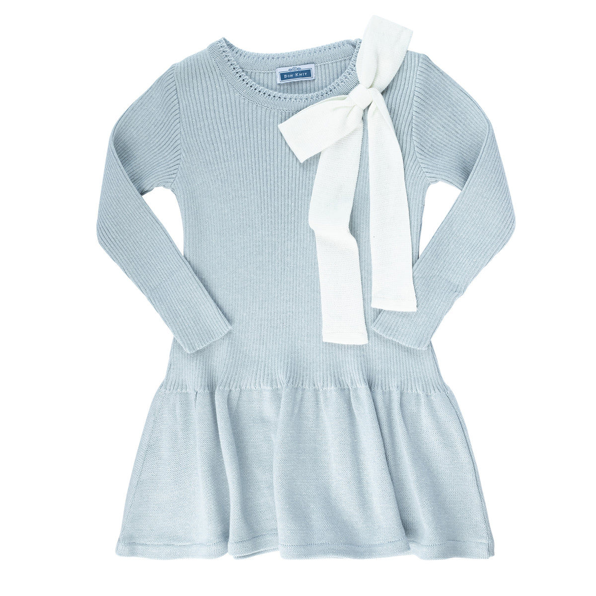Knit Ribbed Bow Dress ~ Powder Blue