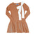 Knit Ribbed Bow Dress ~ Rust