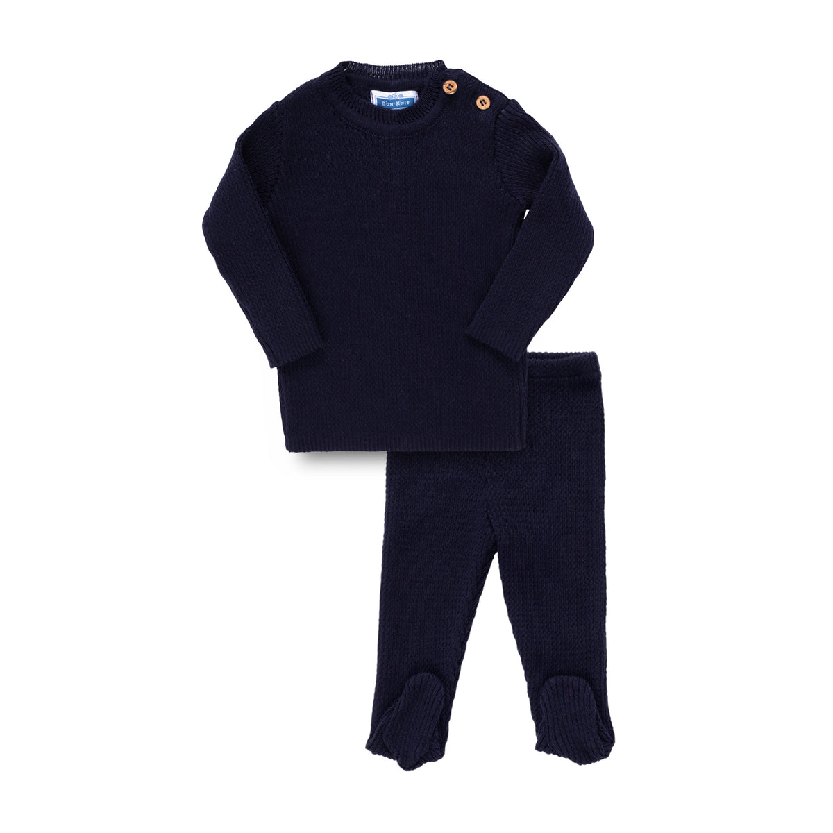 Knit Ribbed Footie Set ~ Navy