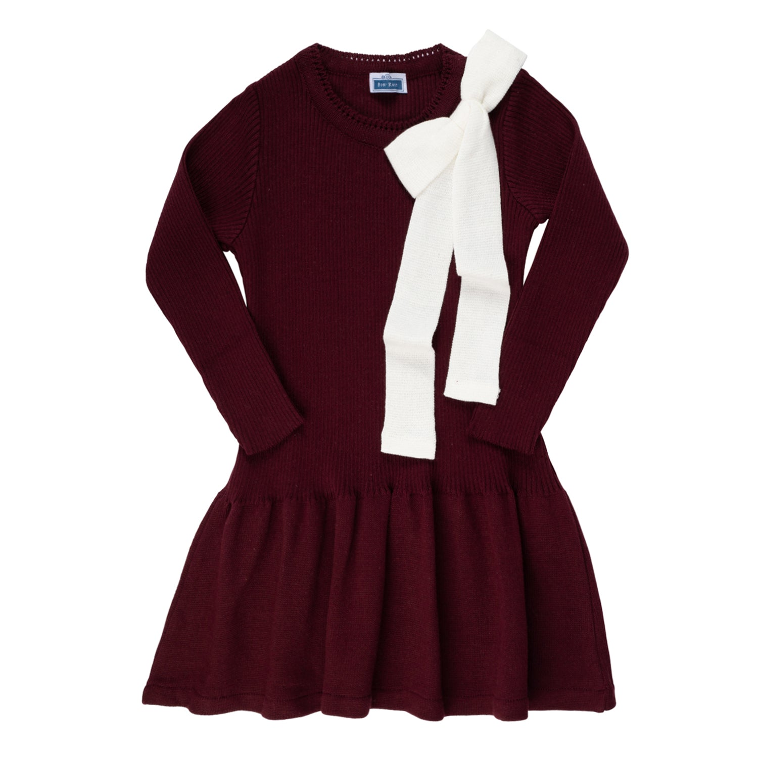 Knit Ribbed Bow Dress ~ Burgundy