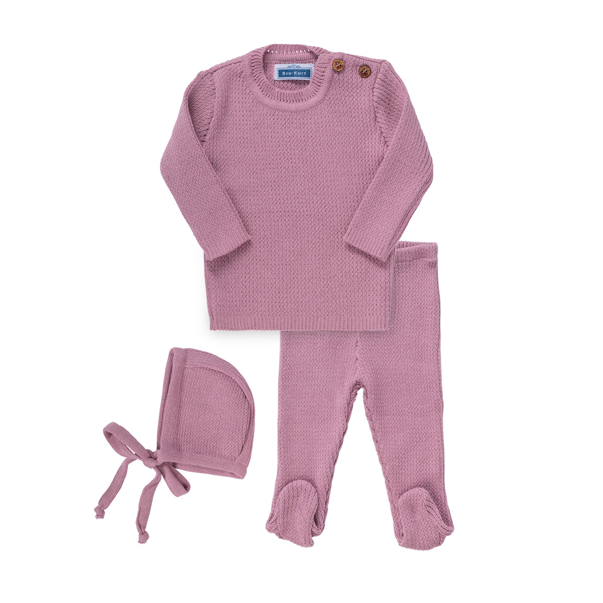 Knit Ribbed Footie Set ~ Lavender