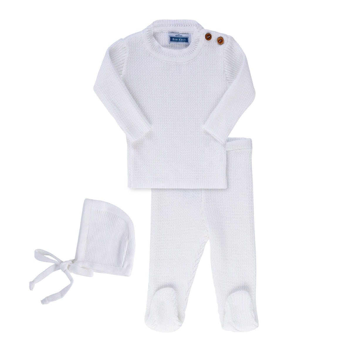 Knit Ribbed Footie Set ~ White