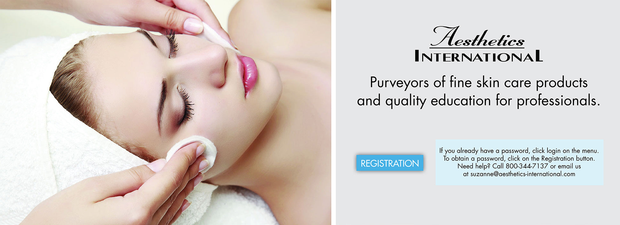 Aesthetics International products for skin care professionals - Registration