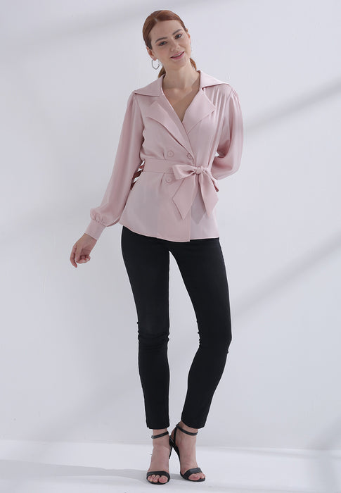 dames blouse roze strik