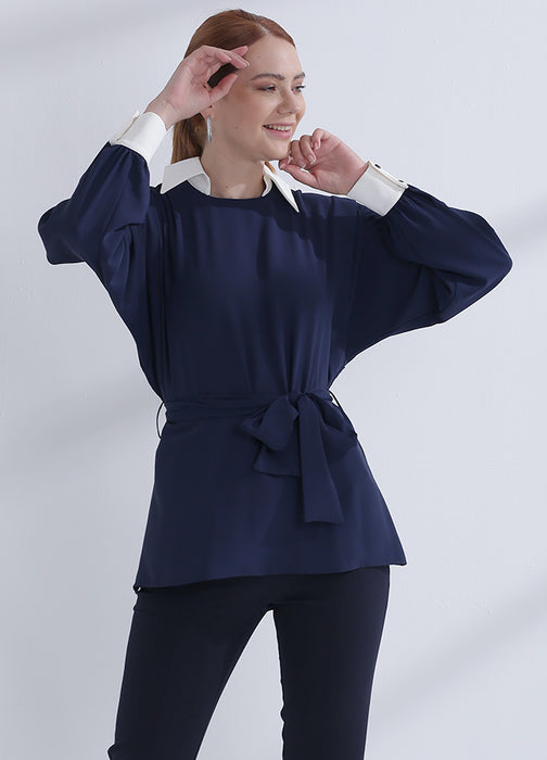 blouse dames donkerblauw kraag