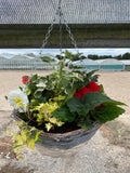 35cm White & Grey Round Premium Summer Hanging Basket