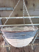 35CM Dipped Grey/White Empty Hanging Basket.