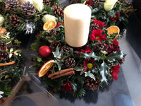 "Large 12"" Traditional Themed, Christmas Table arrangement with Candle"
