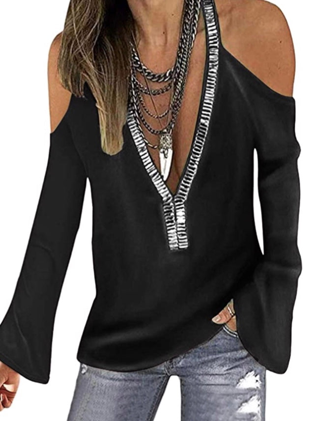 Black Cold shoulder top with sequin detail