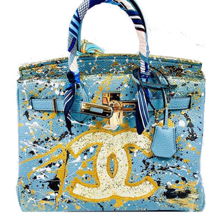 Custom painted designer style handbag with cross body strap and scarf detail wrapped around the handle.