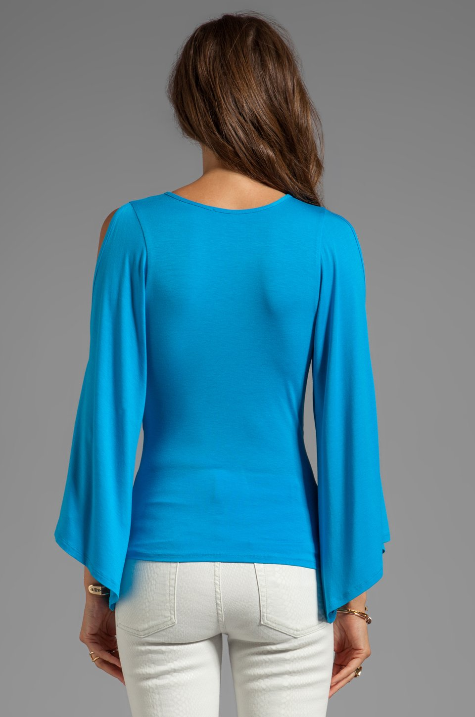 Ocean Blue Open shoulder bell sleeve top