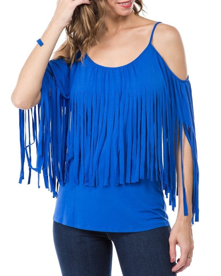 BLUE FRINGED OPEN SHOULDER TOP