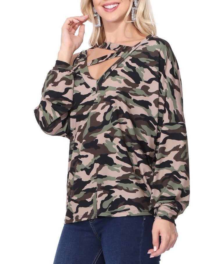Army Printed zig zag neckline with open shoulder top
