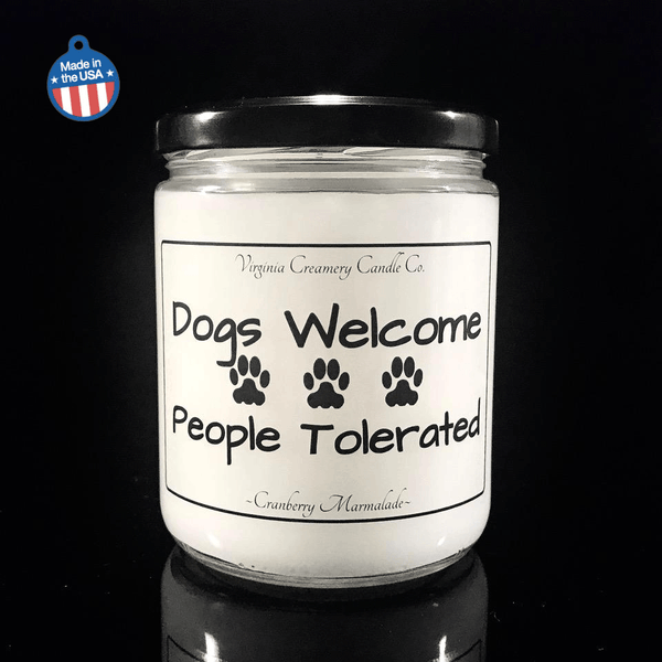 """Dogs welcome, people tolerated"" pet odor candle - Giddy Dogs"