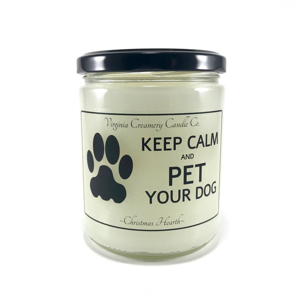 """Keep calm and pet your dog"" pet odor candle - Giddy Dogs"