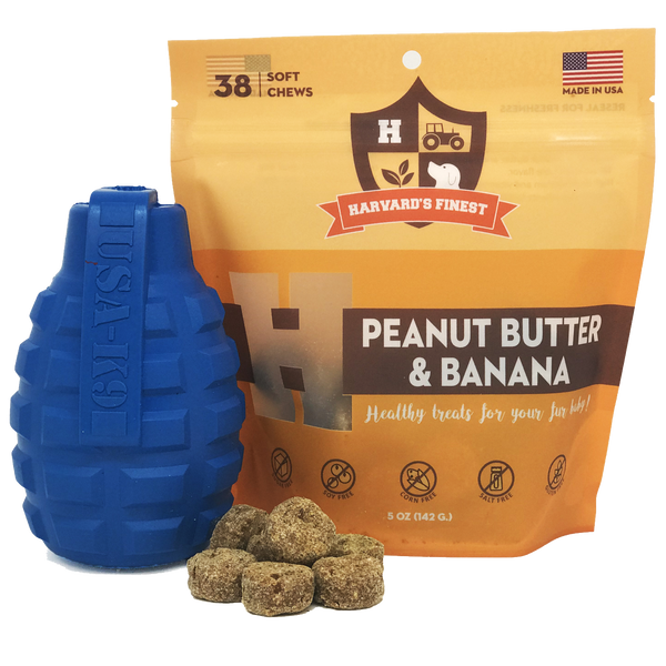 Best dog treats by Harvard's Finest: PB & Banana combo pack with grenade chew toy - Giddy Dogs