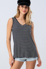 Load image into Gallery viewer, Striped V Neck Sleeveless Top