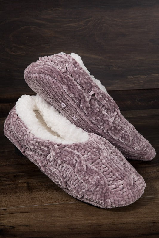 Chenille Cable Knit Slipper/Sock