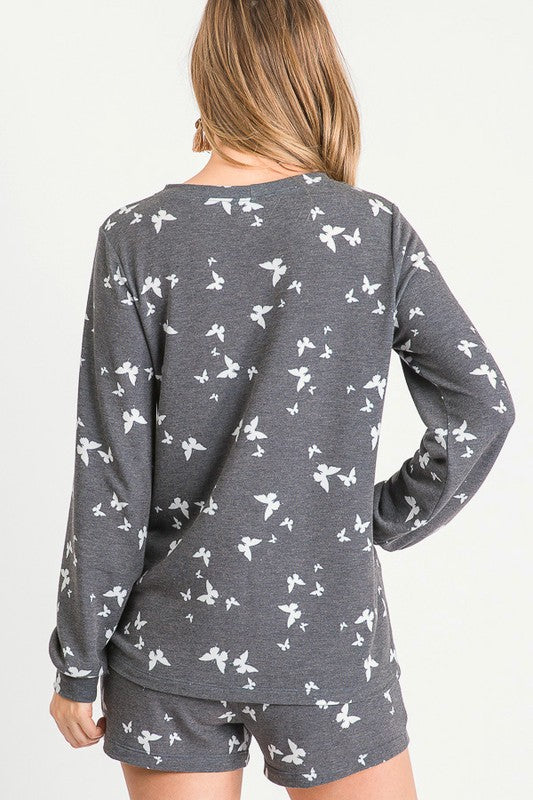 Butterfly Print Lounge Top