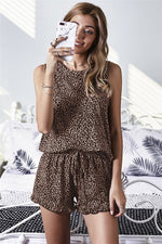 Load image into Gallery viewer, Leopard Ruffle Shorts Set
