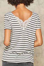 Load image into Gallery viewer, Lace-Trimmed Striped Short Sleeve Top