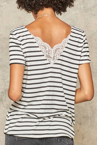 Lace-Trimmed Striped Short Sleeve Top
