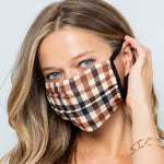 Load image into Gallery viewer, Face Masks Brown Plaid