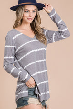 Load image into Gallery viewer, Long Sleeve Stripe V-Neck Tee