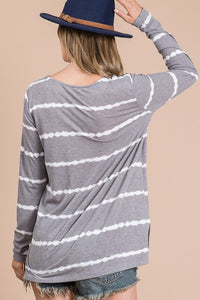 Long Sleeve Stripe V-Neck Tee