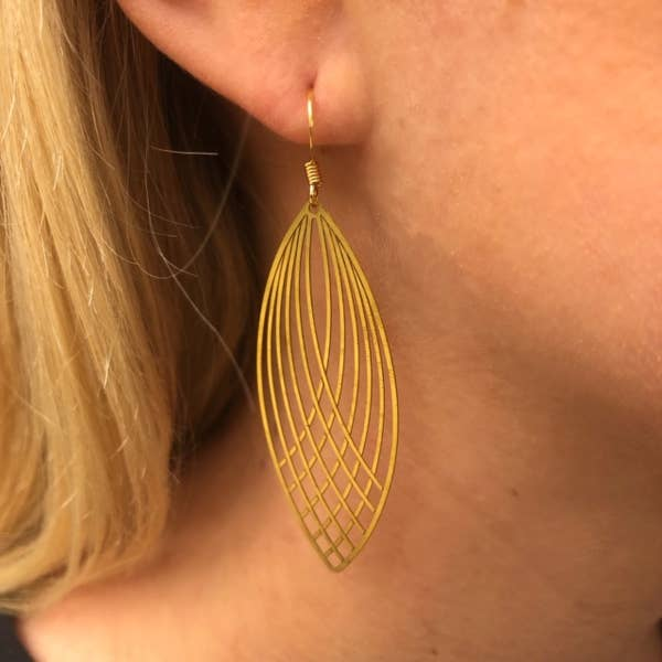 Golden Eclipse Feather Earrings