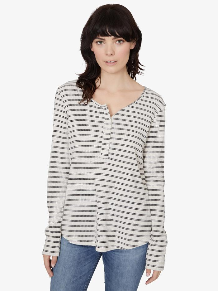 Alma Snap Front Striped Tee