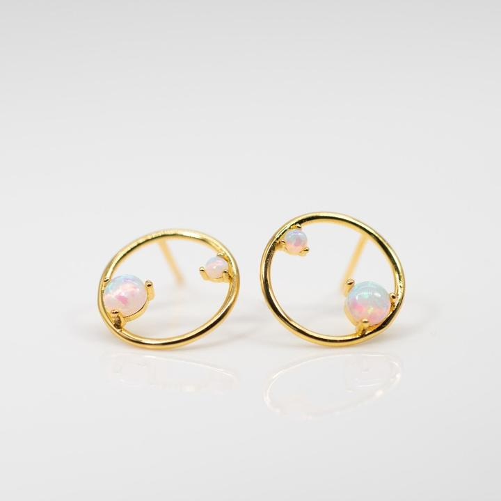 Opal Disc Double Studs