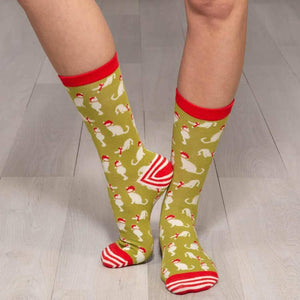 Cats Lime Socks