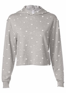 Printed Terry Cropped Pullover Hoodie