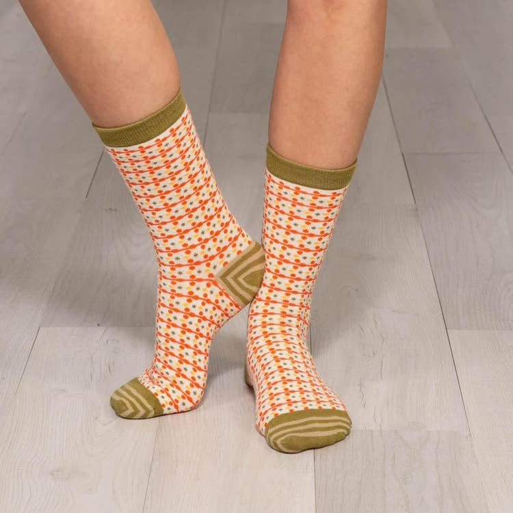 Dots Orange Border Socks