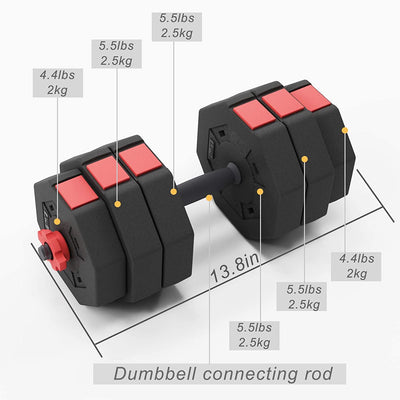 Adjustable Dumbbells Weight Set Barbell Convertible 33lbs for Each Dumbbell 66 LBS TOTAL