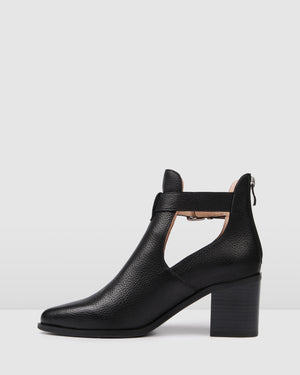 ABBY MID ANKLE BOOTS BLACK LEATHER