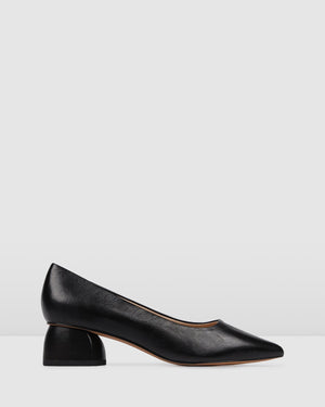 ABSTRACT LOW HEELS BLACK LEATHER