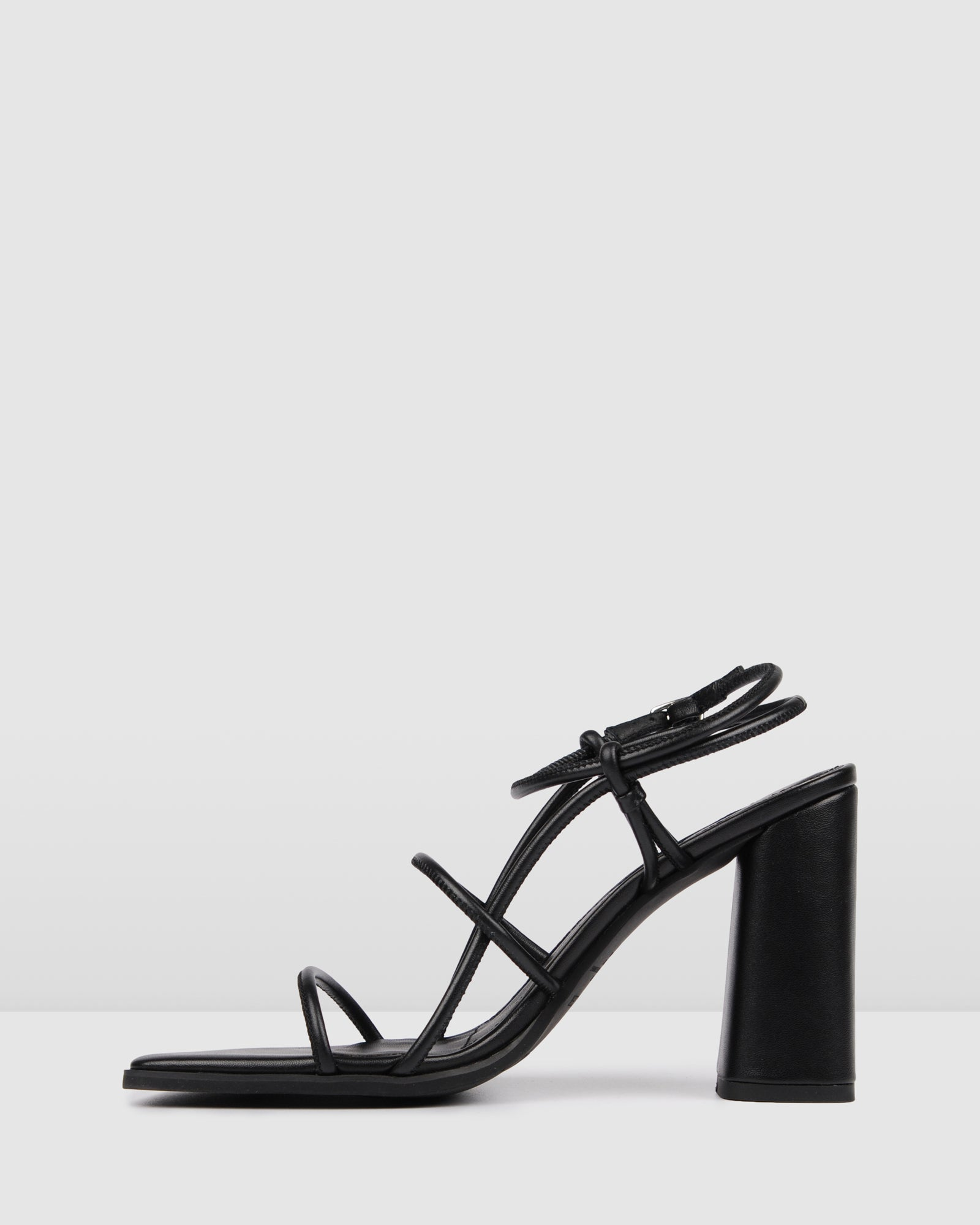 ADDISON HIGH HEEL SANDALS BLACK LEATHER