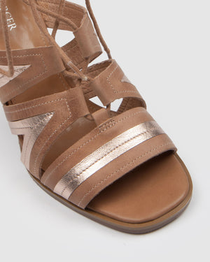 ADELINE HIGH SANDALS TAN LEATHER